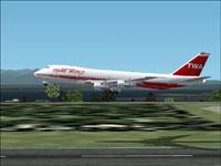 Screenshot of TWA Boeing 747-200 in flight.