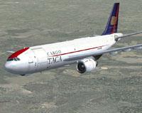 Screenshot of Taca Cargo Airbus A300B4-203F in flight.