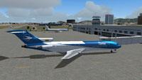 Screenshot of Tame Ecuador Boeing 727-200 on the ground.