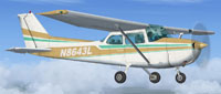 Screenshot of Tan And White Cessna 172 in flight.