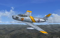 Screenshot of The Chino Kid's F-86 Sabre Jet in flight.