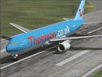 Screenshot of Thomson Boeing 767-300ER on runway.
