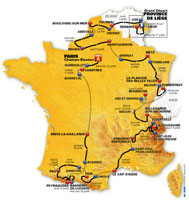 'Tour de France 2012 Flights' route map.