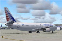 Screenshot of Transaero Boeing 737-400 on the ground.
