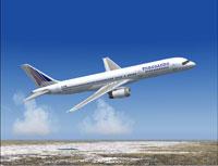 Screenshot of Transaero Boeing 757-200 in flight.