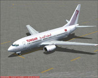 Screenshot of Tunis Air Boeing 737-700 on the ground.