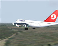 Screenshot of Turkish Airlines Airbus A310-300 in flight.