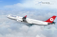 Screenshot of Turkish Airlines Airbus A340-311 in flight.