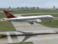 Screenshot of Turkish Airlines Boeing 7E7-800 above runway.