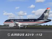 Screenshot of US Airways Airbus A319-112 on runway.