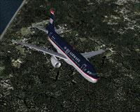 Screenshot of US Airways Airbus A320-214 in flight.