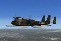 Screenshot of US Army OV-1 Mohawk in flight.