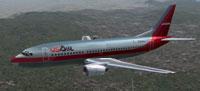 Screenshot of USAir Boeing 737-300 in flight.