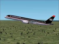 Screenshot of USAir Boeing 757-200 in flight.