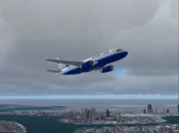 Screenshot of United Airlines Airbus A319 in flight.
