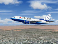 Screenshot of United Airlines Boeing 737-500 in flight.