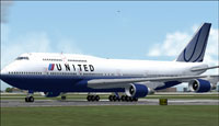 Screenshot of United Airlines Boeing 747-400 on runway.