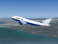 Screenshot of United Airlines Boeing 747-400 in flight.