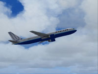 Screenshot of United Airlines Boeing 767-300 in flight.