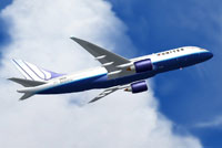 Screenshot of United Airlines Boeing 7E7-800 in flight.
