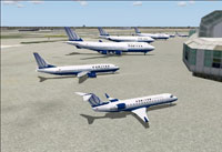 Screenshot of United Airlines fleet on the ground.