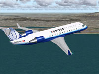 Screenshot of United Express CRJ-200 in flight.
