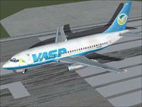 Screenshot of VASP Boeing 737-200 on runway.
