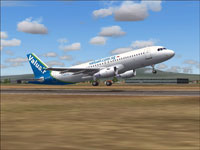 Screenshot of Valuair Airbus A320 taking off.
