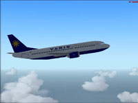 Screenshot of Varig Boeing 737-341 in flight.