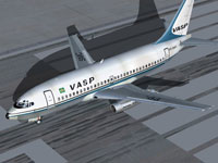 Screenshot of Vasp Boeing 737-200 on runway.
