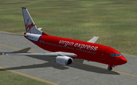 Screenshot of Virgin Express Boeing 737-300 on runway.