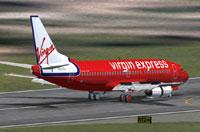 Screenshot of Virgin Express Boeing 737-300 on runway.