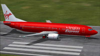 Screenshot of Virgin Express Boeing 737-400 on runway.