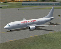 Screenshot of Virgin Express White Boeing 737-400 on the ground.