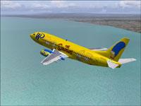 "Screenshot of WP Boeing 737-300 ""The Simpsons"" in flight."