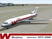 Screenshot of Western Airlines Boeing 727-200 on the ground.