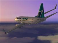 """Screenshot of Westjet """"James Bond"""" 737-700 in flight."""