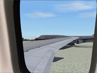 Wing view on Boeing 767-200.