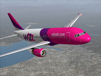 Screenshot of Wizz Air Airbus A320-200 in flight.