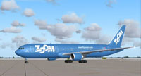Screenshot of Zoom Boeing 767-328ER on the ground.