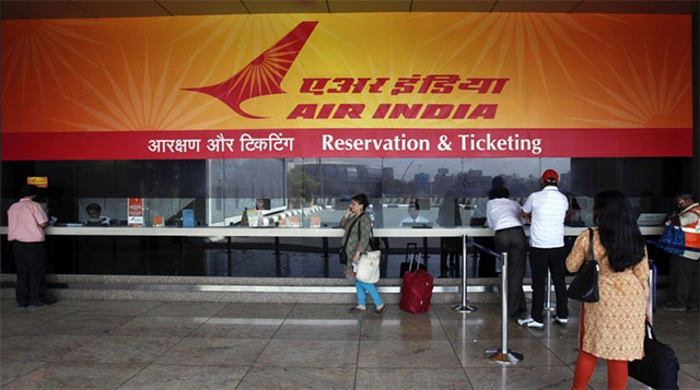 Empty Air India check-in desk.