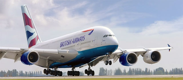 Artists impression of a British Airways A380