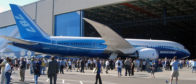 The Boeing 787 at a press event.