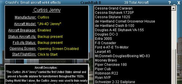 Screenshot from the FS2004 version of CrashBak.