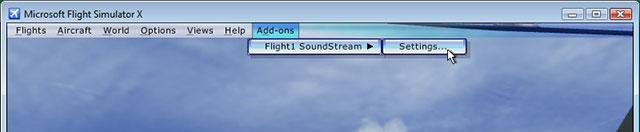 FSX menu showing soundstream.