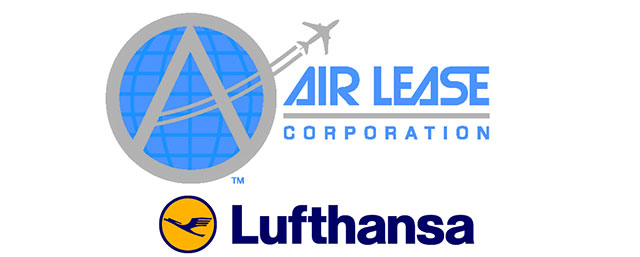 The company logos of Lufthansa and Air Lease Corp.