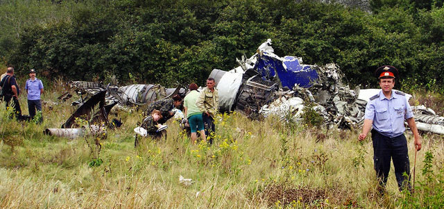 Wreckage from the crash at Rostov.