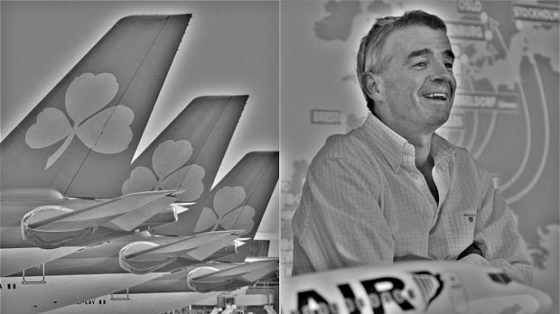 Air Lingus tail and Michael O'Leary of Ryanair