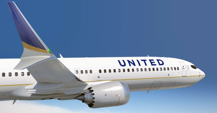United Airlines 737 Max Computer Drawing.