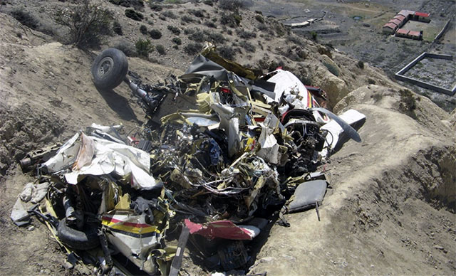 The wreckage of the aircraft after the crash.